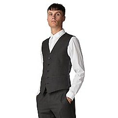 Ben Sherman - Charcoal burgundy check waistcoat
