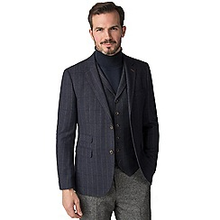 Jeff Banks - Blue Check mixed tailoring wool blend tailored fit jacket
