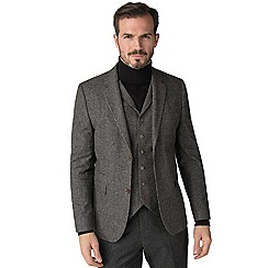 Jeff Banks - Grey Puppy Tooth Mixed Tailoring Wool Blend Tailored Fit Jacket