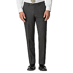Jeff Banks - Charcoal puppy tooth mixed tailoring wool blend tailored fit trousers