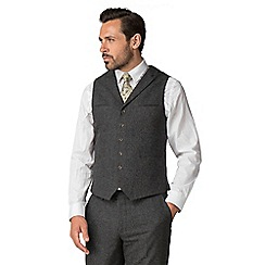 Jeff Banks - Charcoal puppy tooth mixed tailoring wool blend tailored fit waistcoat