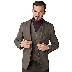 Jeff Banks - Brown hounds tooth mixed tailoring wool blend tailored fit jacket