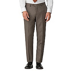 Jeff Banks - Brown hounds tooth mixed tailoring wool blend tailored fit trousers
