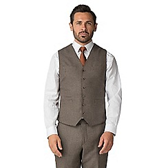 Jeff Banks - Brown hounds tooth mixed tailoring wool blend tailored fit waistcoat