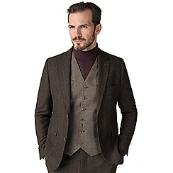 Jeff Banks - Brown check mixed tailoring wool blend tailored fit jacket