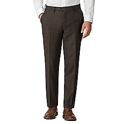 Jeff Banks - Brown check mixed tailoring wool blend tailored fit trousers