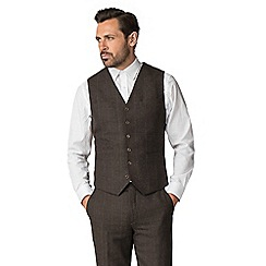 Jeff Banks - Brown check mixed tailoring wool blend tailored fit waistcoat