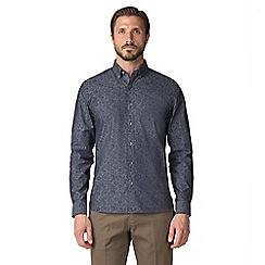 Jeff Banks - Navy chambray floral print shirt