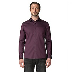 Jeff Banks - Mulberry tonal spot dobby shirt