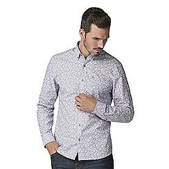 Jeff Banks - Purple stripe floral print shirt
