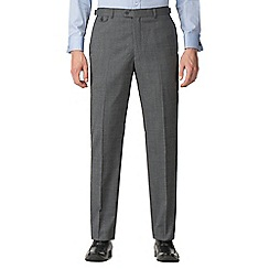 Jeff Banks - Grey semi plain machine washable tailored fit wool blend formal trousers