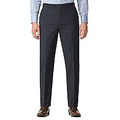 Jeff Banks - Navy with rust check machine washable tailored fit wool blend formal trousers