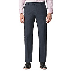 Jeff Banks - Navy semi plain machine washable slim fit wool blend formal trousers