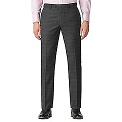 Jeff Banks - Grey with rust check machine washable slim fit wool blend formal trousers