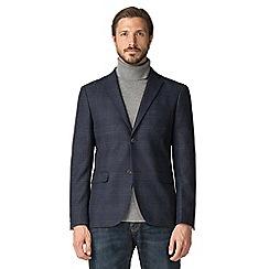Jeff Banks - Jeff Banks Blue Wool Blend Large Check Blazer