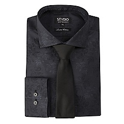 Stvdio by Jeff Banks - Limited edition black leaf jacquard shirt