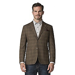 Jeff Banks - Brown wool blend tweed check blazer