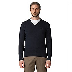 Jeff Banks - Jeff Banks Navy V-neck cotton jumper