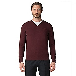 Jeff Banks - Jeff Banks Burgundy V-neck cotton jumper