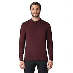 Jeff Banks - Jeff Banks Burgundy cotton long sleeve knitted polo shirt