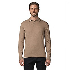 Jeff Banks - Jeff Banks Light Brown cotton long sleeve knitted polo shirt