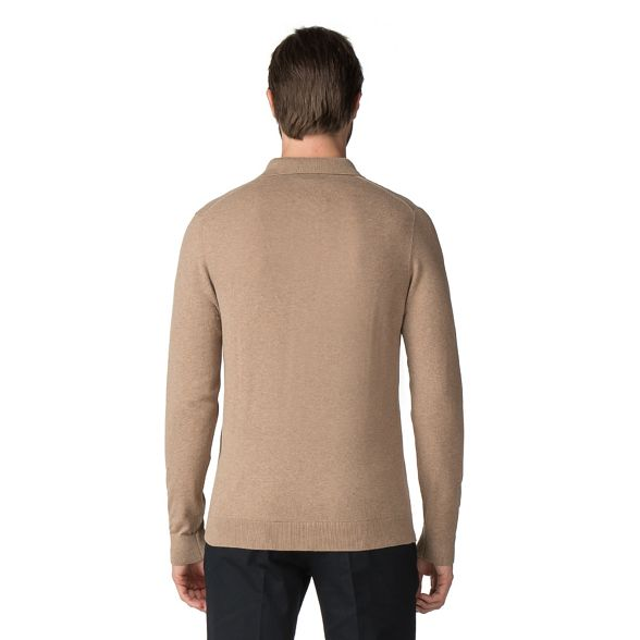 sleeve shirt Jeff Banks cotton Brown polo knitted Banks Jeff Light long Aqp0A