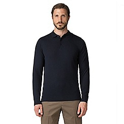Jeff Banks - Navy cotton long sleeved knitted polo shirt
