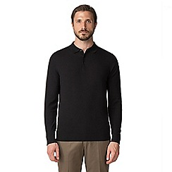 Jeff Banks - Black cotton long sleeved knitted polo shirt