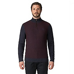 Jeff Banks - Jeff Banks navy and burgundy textured half zip jumper