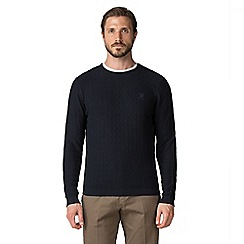 Jeff Banks - Navy diamond textured stitch crew neck jumper