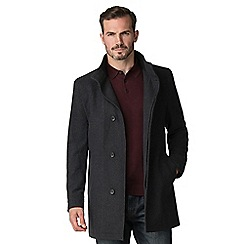 Jeff Banks - Grey funnel wool blend coat