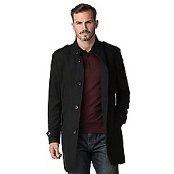 Jeff Banks - Black wool blend funnel coat