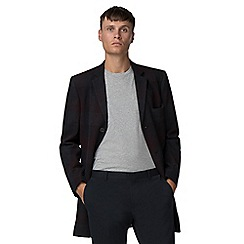 Ben Sherman - Burgundy tonal check melton overcoat