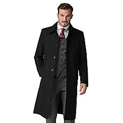 Jeff Banks - Black wool rich classic overcoat with shower resistance finish