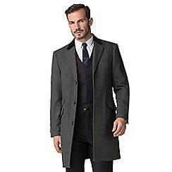 Stvdio by Jeff Banks - Grey herringbone wool blend overcoat