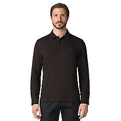 Jeff Banks - Black long sleeved textured polo shirt