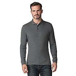 Jeff Banks - Jeff Banks charcoal marl long sleeved polo shirt