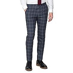 Ben Sherman - Blue rust brushed check wool blend slim trousers