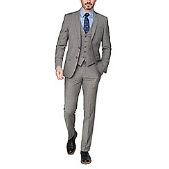 Racing Green - Pale grey caramel check tailored jacket