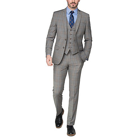 Pale Grey Caramel Check Tailored Suit by Pale Grey Caramel Check Tailored Suit