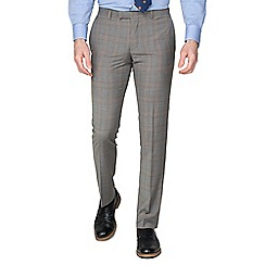 Racing Green - Pale Grey Caramel Check Tailored Trousers