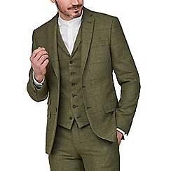 Racing Green - Green Heritage Check Tweed Tailored Fit Suit