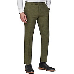 Racing Green - Green Heritage Check Tweed Tailored Fit Suit Trousers