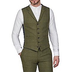 Racing Green - Green Heritage Check Tweed Waistcoat