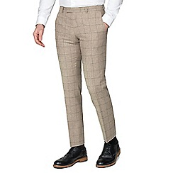 Racing Green - Taupe Check Tweed Tailored Fit Suit Trouser