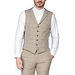 Racing Green - Taupe Check Tweed Waistcoat