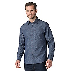 Jeff Banks - Jeff banks blue chambray floral print shirt