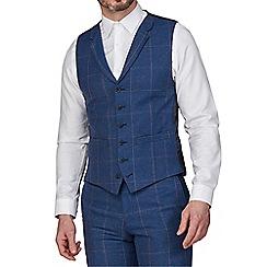 Racing Green - Blue Heritage Check Tweed Waistcoat