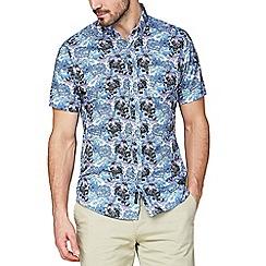 Jeff Banks - Jeff Banks Blue Bold Floral Print Shirt