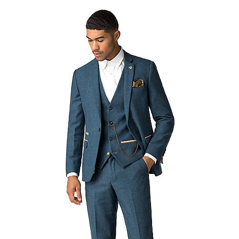Dion Blue Herringbone Check Suit by Marc Darcy